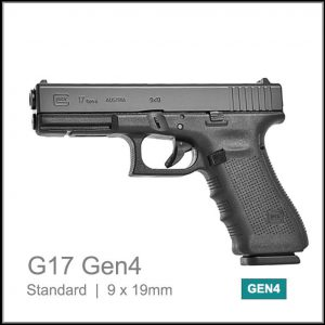 Glock 17 Gen 4 caliber 9mm parabellum semi auto pistol in black