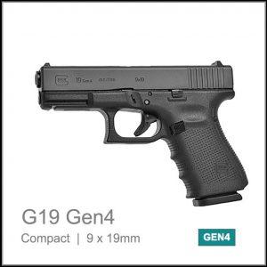 Glock 19 Gen 4 9mm semi auto pistol black