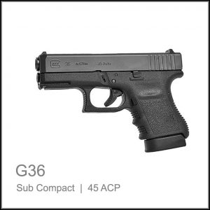 Glock 36 sub compact semi auto back up gun 45acp