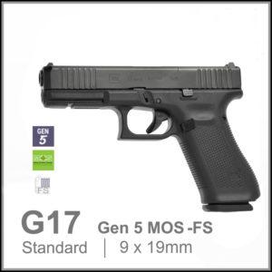 Glock 17 Gen 5 MOS FS Pam pistol red dor ready