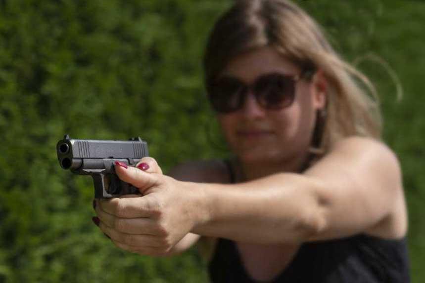 Glock 48 with woman shooting