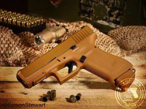 Glock 19X 9mm pistol coyote brown